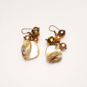 Jewelry - Shell Bronze Colored Bead Cluster Dangle Earrings